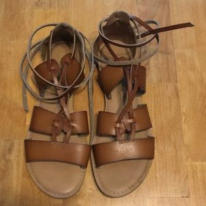 Lace up leather gladiator sandals
